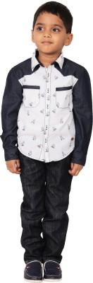 I-Voc Boy's Printed Casual White, Blue Shirt