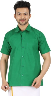 MEENAVISION Men's Solid Formal Green Shirt