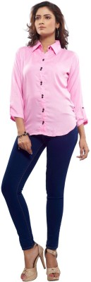 TrendBAE Women's Solid Casual Pink Shirt