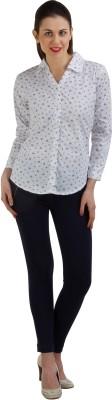 GUDS Women's Printed Formal White Shirt