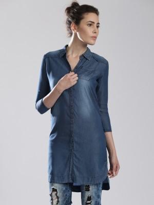 HRX by Hrithik Roshan Women's Solid Casual Blue Shirt