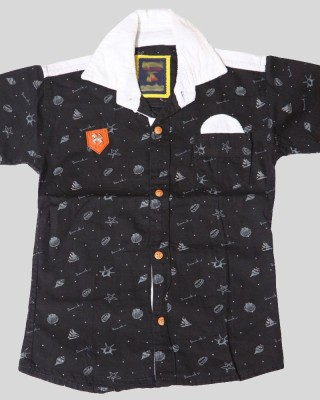 Kidicious Boy's Printed Casual Black, White Shirt