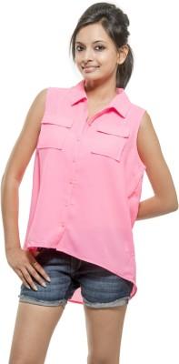 Kashana Fashions Women's Solid Casual Pink Shirt
