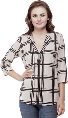 Mask Lifestyle Women's Checkered Casual White Shirt