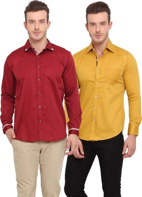 Ennoble Men's Solid Casual Yellow, Maroon Shirt