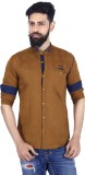 MOZAC Men's Solid Casual Beige Shirt