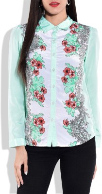 Zeupic Women's Floral Print Casual Green, White Shirt