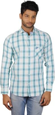V Seven Men's Checkered Casual Blue, White Shirt