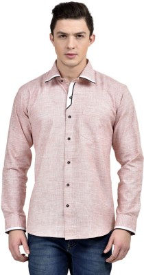 Future Plus Men's Self Design Casual Pink Shirt