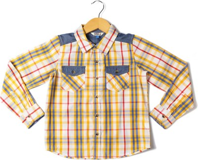 People Boy's Checkered Casual Yellow Shirt
