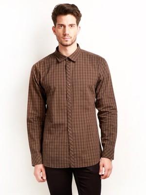 Change 360 Men's Checkered Casual Brown Shirt