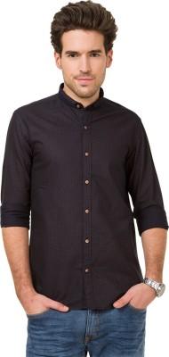 Mode Manor Men's Polka Print Casual Black Shirt