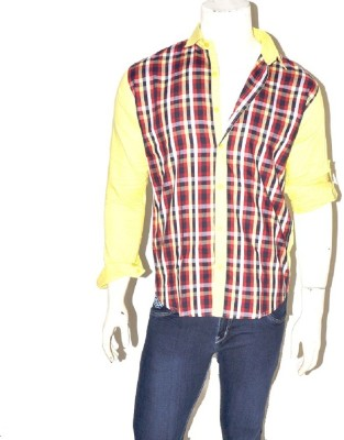 Indian Touch Men,s Checkered Casual Yellow, Red Shirt