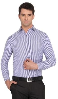 Donear NXG Men's Striped Formal Dark Blue Shirt