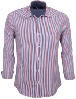 Legato Men's Striped Wedding, Casual, Party, Formal Red, Blue, White Shirt