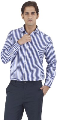 Silkina Men's Striped Formal White, Blue Shirt
