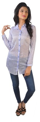 No Code Women's Printed Casual Blue Shirt