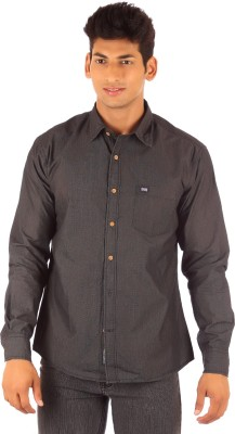 FA French America Men's Solid Casual Black Shirt