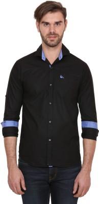 Human Steps Men's Solid Casual Black Shirt