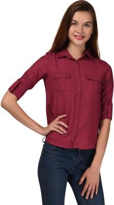 LA ATTIRE Women's Solid Casual Maroon Shirt