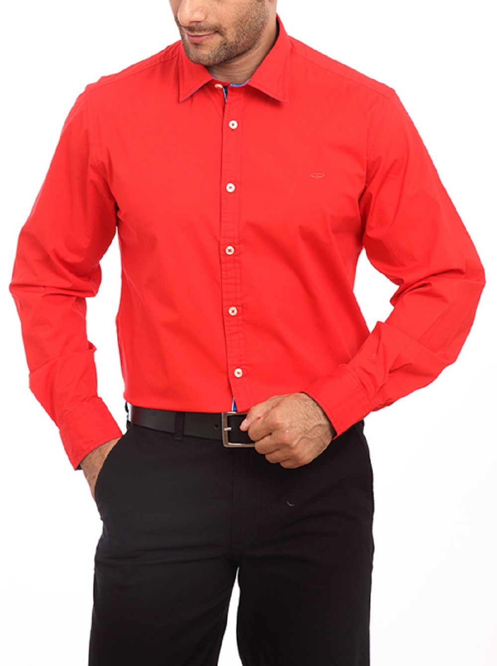 ColorPlus Mens Striped Casual Red Shirt