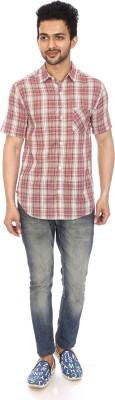 Kalaa Men's Checkered Casual Red, White Shirt