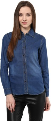 The Vanca Women's Solid Casual Denim Blue Shirt