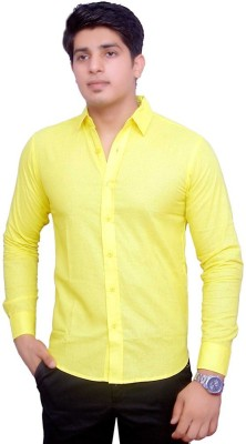 Rose Wear Men's Solid Formal Yellow Shirt