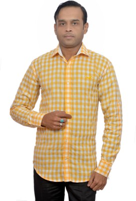 Adam In Style Men's Checkered Casual Yellow Shirt