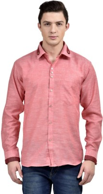 Future Plus Men's Self Design Casual Linen Red Shirt