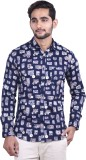 Cortos Men's Printed Formal Blue Shirt