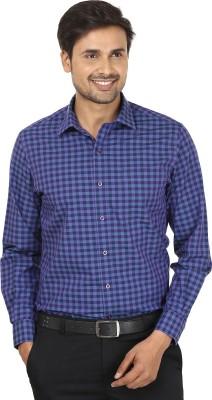 John Players Men's Checkered Formal Blue, Purple Shirt