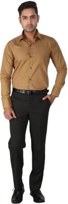 Regza Men's Checkered Formal Gold Shirt