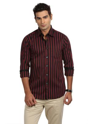 Sting Men,s Striped Formal Black, Red Shirt