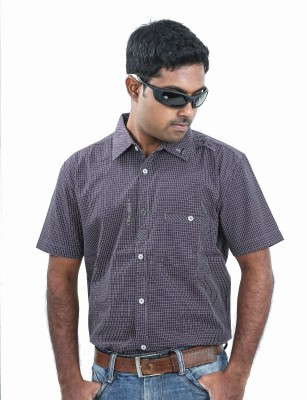 Argyle Men's Checkered Casual Purple Shirt
