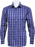 Oyster Blue Men's Checkered Casual Dark ...