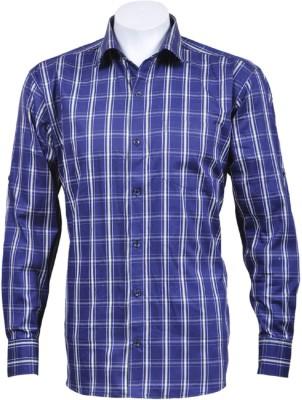 Oyster Blue Men's Checkered Casual Dark Blue Shirt