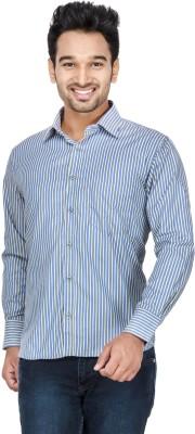 Vidyuth Traders Men's Striped Formal Dark Blue Shirt