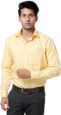 Call In France Men's Solid Formal Yellow Shirt