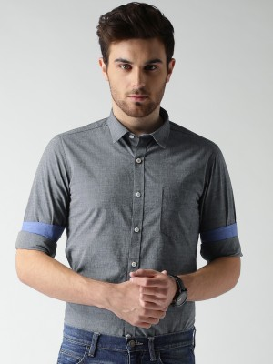 Mast & Harbour Men's Solid Casual Grey Shirt