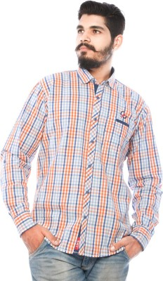 LWW Men's Checkered Casual Orange, Blue Shirt