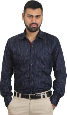 The Standard Men's Printed Formal Blue Shirt