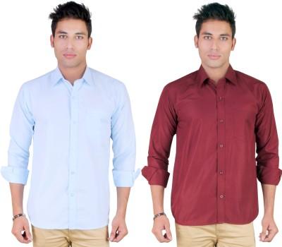 Yuva Men's Solid Casual Light Blue, Maroon Shirt