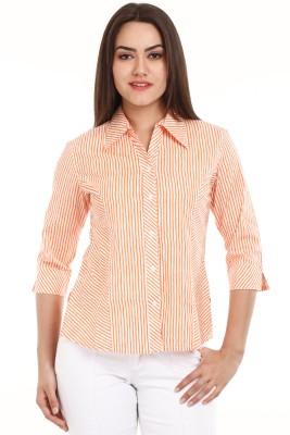 Mustard Women's Striped Casual Orange Shirt