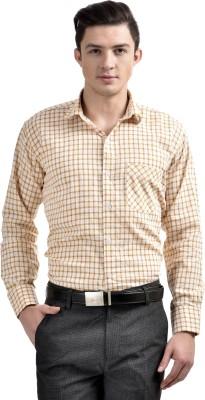 Comfortline Men's Checkered Formal Yellow Shirt