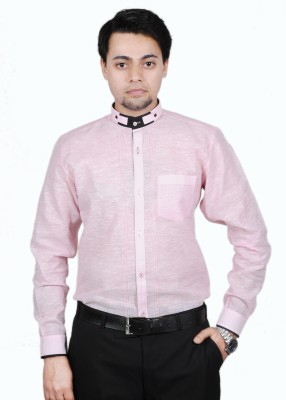 The Mods Men's Solid Casual Pink, Black Shirt