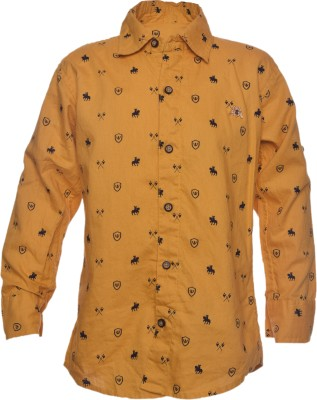 Farico Boy's Self Design Casual Yellow Shirt