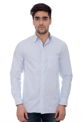 Parv Collections Men's Striped Formal White Shirt