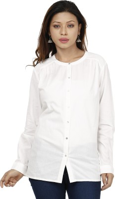 Miway Women's Solid Casual White Shirt