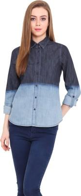 Pryma Donna Women's Solid Casual Denim Blue, Black Shirt